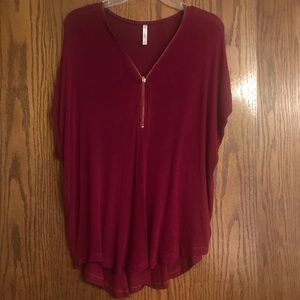 Zipper neckline red knit top ❤️ 🔥